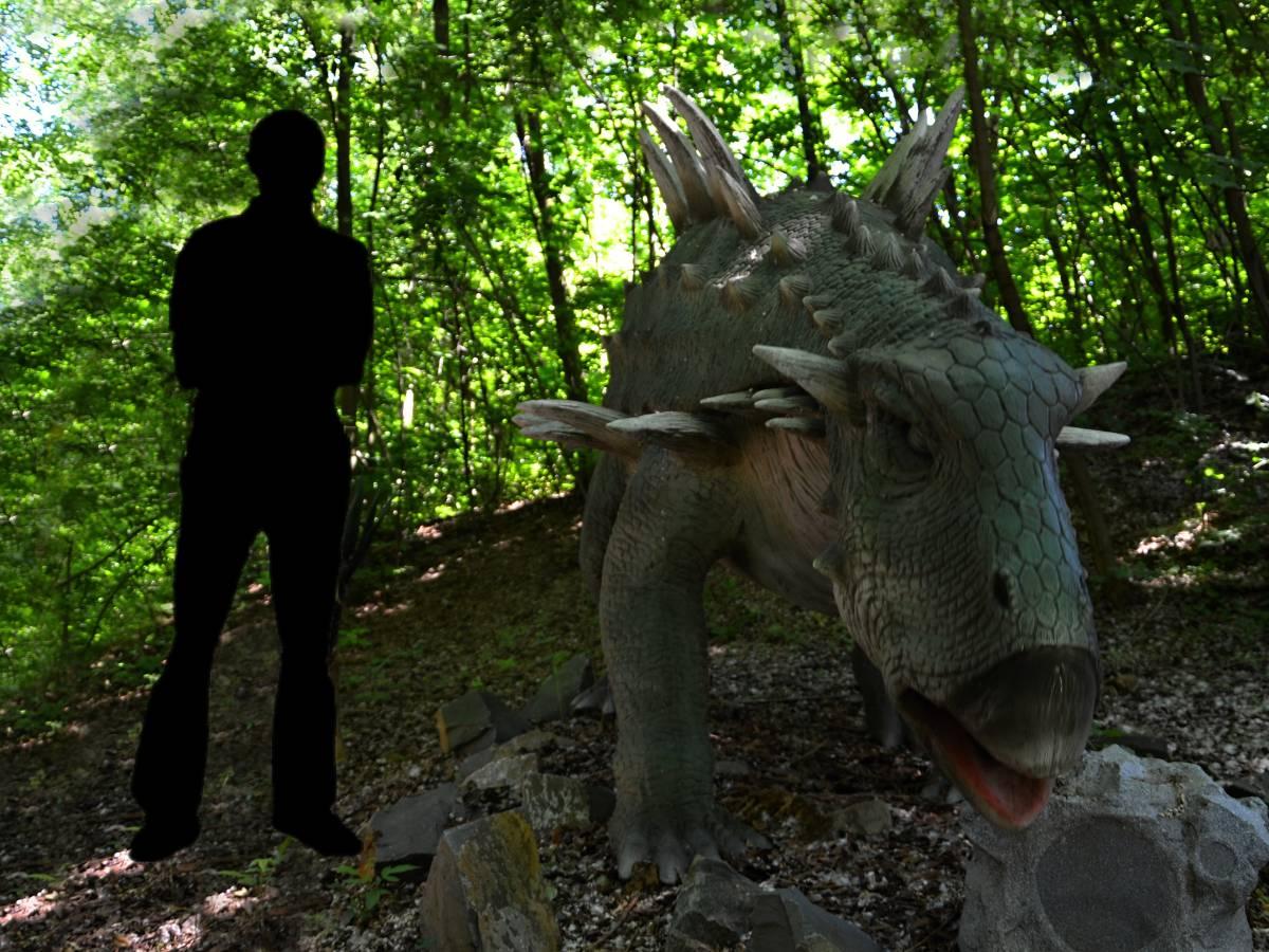 Dinosaurus Polacanthus v porovnání se siluetou člověka