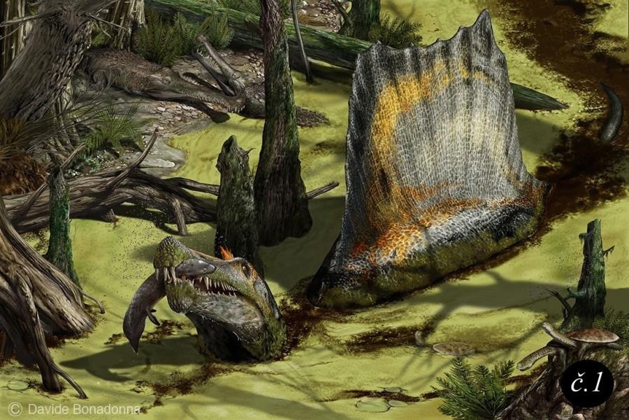 Spinosaurus s ulovenou rybou