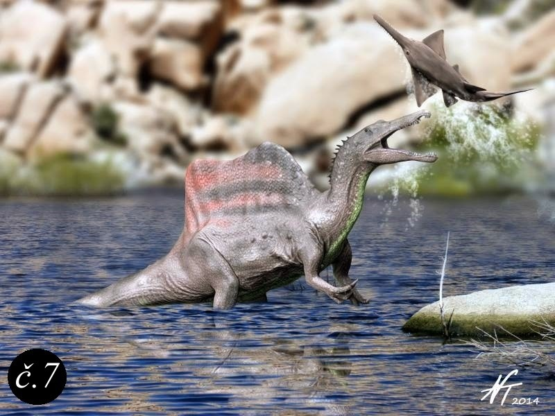 Spinosaurus lovící pilouna.